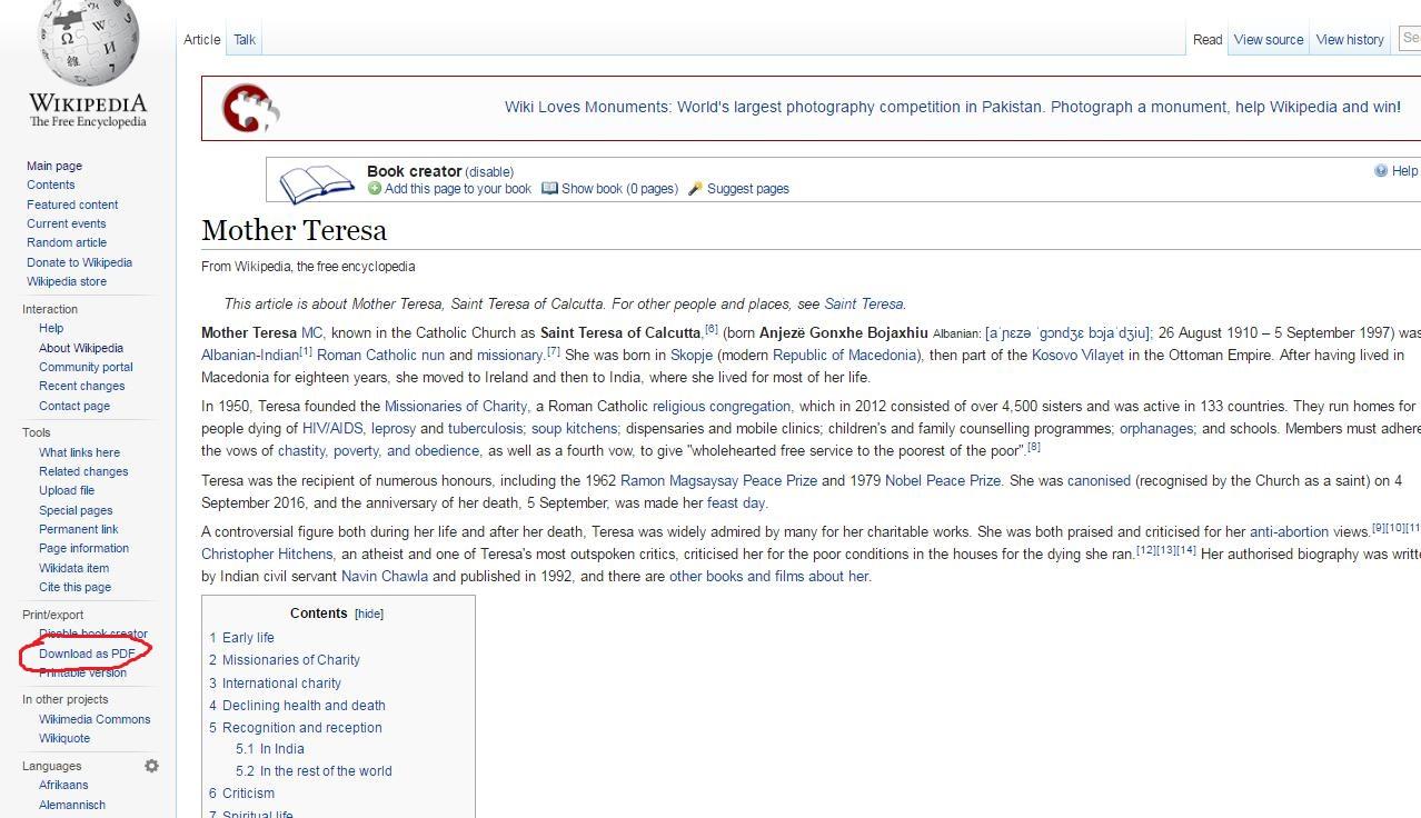 wikipedia Download as PDF